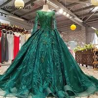 ANGEL NOVIAS Long Sleeve Ball Gown Arabic Muslim Wedding Dresses 2018 with 3D Flowers Sequins Vestido de Novia Bridal Gowns