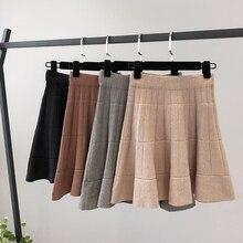 Knitted Pleated Skirt Women Plus Size Autumn Winter School Skirts Ball Gown Elastic Waist Korean Vintage Harajuku Mini New