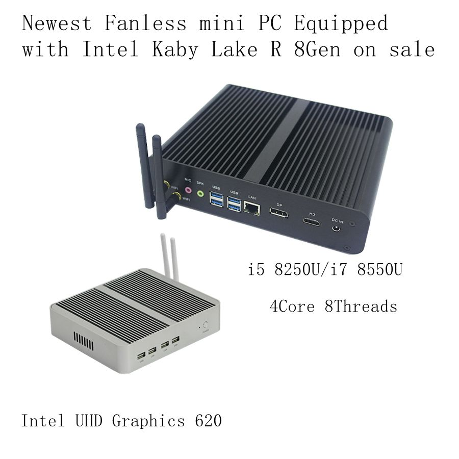 Newest Kaby Lake R 8Gen Fanless pc <font><b>i5</b></font> 8250u/i7 8550u <font><b>Intel</b></font> UHD 620 win10 Quad <font><b>Core</b></font> 8 Threads DDR4 2133 <font><b>2400</b></font> NUC Freeshipping pc image
