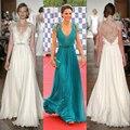 Celebrity dresses lace V neck maxi dresses short sleeves turquoise formal dresses