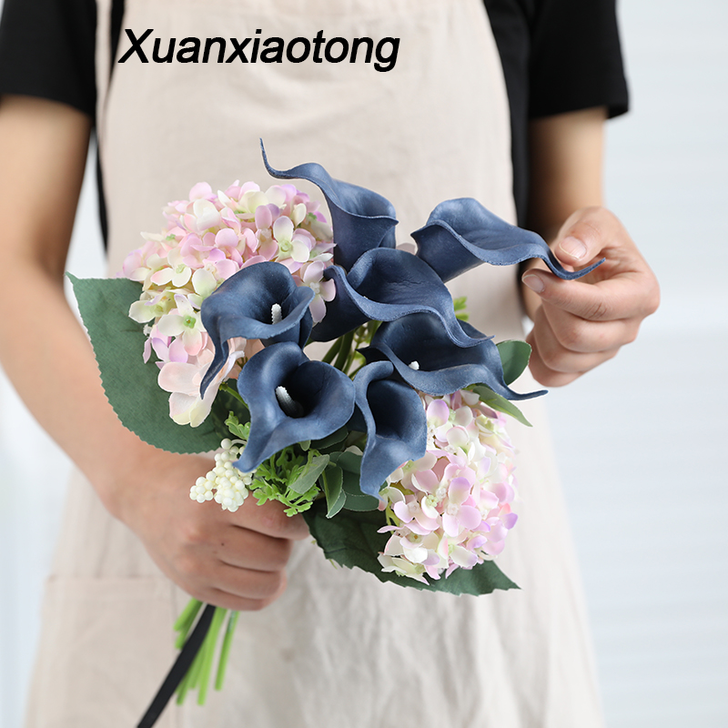 Xuanxiaotong 31pcs Real Touch Purple PU Calla Lily Flowers Artificial Decorative For Wedding Home Table Decoration Fake Flowers