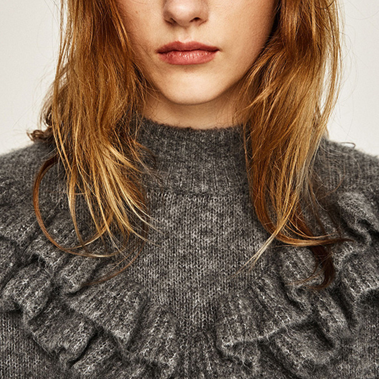 2017 Spring New Trends Round Collar Long Sleeves <font><b>Grey</b></font> Knitwear <font><b>Sweater</b></font> With Frilled Cuffs And <font><b>Ribbed</b></font> <font><b>Hem</b></font>