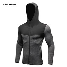 947e7f540a44f 2019 新しい男性ランニングジャケットフィットネススポーツコートサッカー屋外トレーニングジムコルセットフード付き薄型