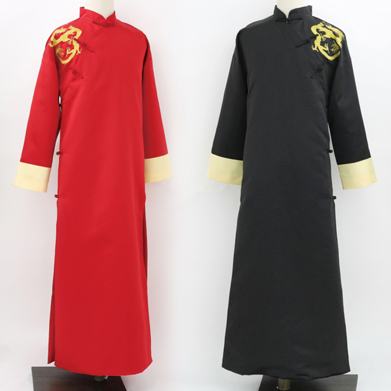 Chinese style marriage embroidered clothes vintage gown robe Male Long Gown Embroidered Dragon Men's Red Black Traditional Robe