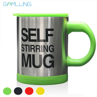 Gamlung Brand Stainless Steel Self Stirring Mug Mixing Automatic Electric Lazy Coffee Milk Cup 14oz