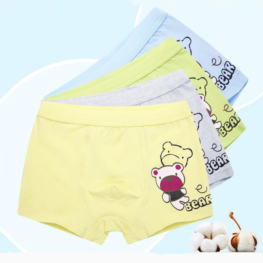 4pcs cotton fabric boys briefs kids underwear children clothes cute bear cotton panties boxer shorts for 3-12T new year 2018