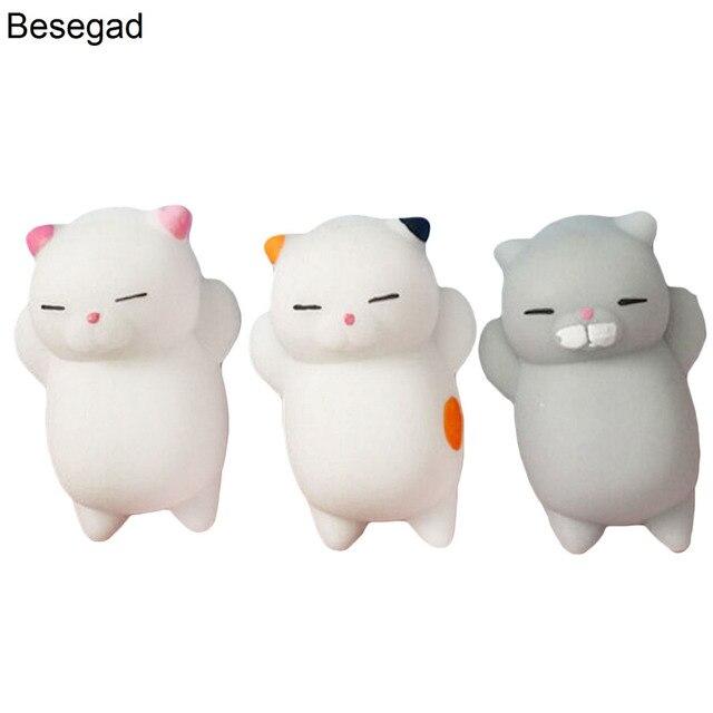 Besegad 3 pçs/lote TPR Mochi Engraçado Kawaii Bonito Dos Desenhos Animados Suave Gato Kat Telefone Starp Mole Toy Squeeze para Alivia O Estresse ansiedade