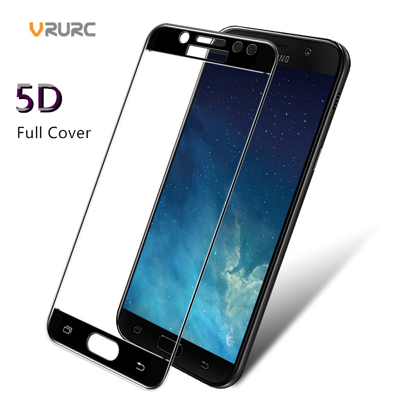 VRURC Updated 5D Tempered Glass For Samsung Galaxy J7 Pro Screen Protector 5D Curved Full Cover Protective Film For Galaxy J7Pro