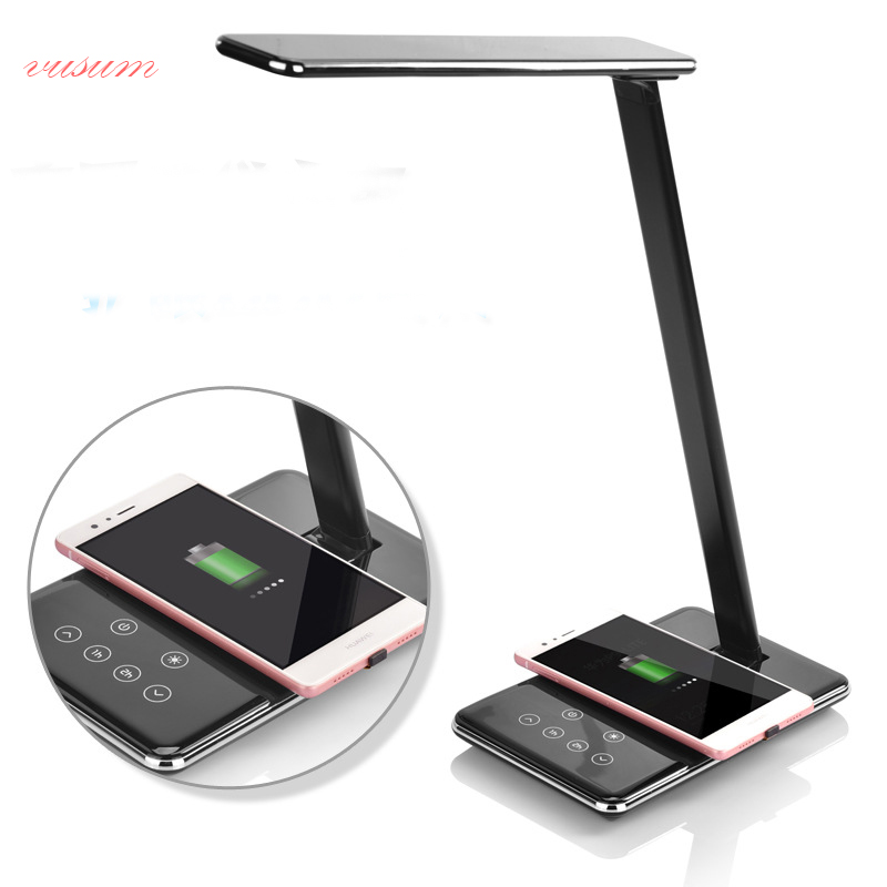 LED smart desk lamp with wireless charger Multifunctional folding office learning eye protection reading lamp