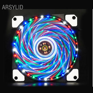 ARSYLID 33 LED 4 colors 12cm cooling fan,Computer case solar fan silent fan Blue Green Red White color Light