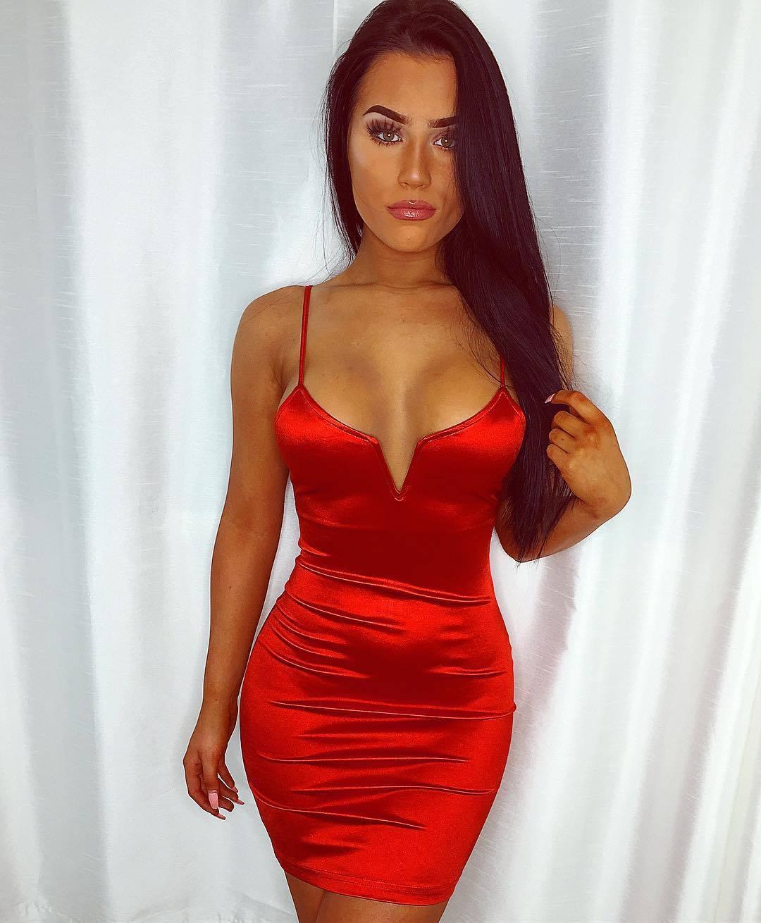V Neck Red Dress 3