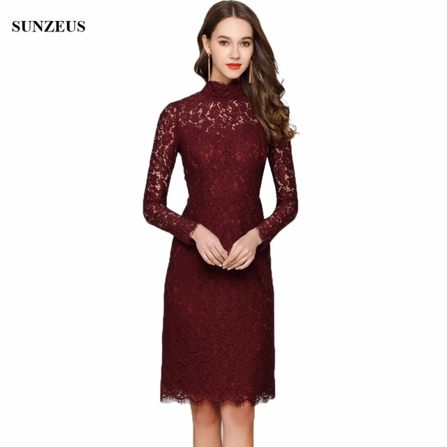 Vintage Burgundy Lace Wedding Mother Dresses Real Long Sleeves High Neck  Knee Length Short Mother Of The Bride Dress CM0117 8090da37c3c6