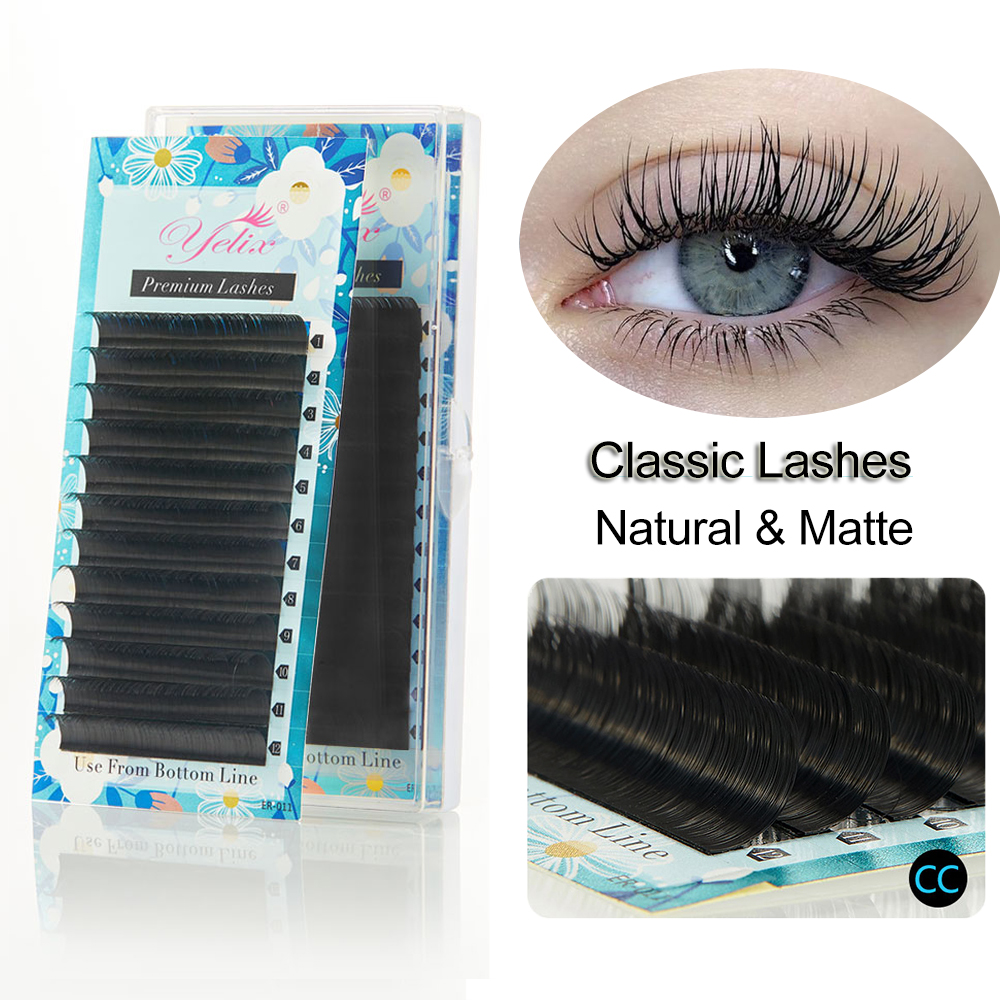 Yelix Matte Silk Individual Eyelashes High Quality Classic Eyelash Extension Korea Eyelash Lashes Extension For Professionals