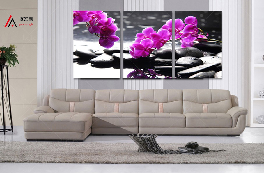 3 Pieces home decoration artwork modular pictures pebbles and orchid - Home Decor - Photo 2