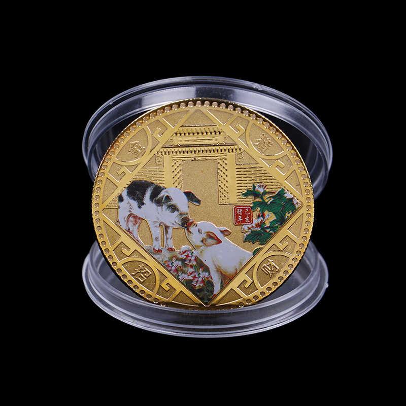 Banhado A ouro Coleção de Arte 2019 Moeda Comemorativa Ano do Porco Porco Sortudo Enviar Abençoado Moedas Coleção Presente de Ano Novo