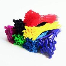 Самоблокирующиеся Кабельные Стяжки пластиковые нейлоновые кабельные стяжки на молнии 3*100 3*200 Смешанные цвета 100 шт. нейлоновые стяжки крепежные Петли Кабеля