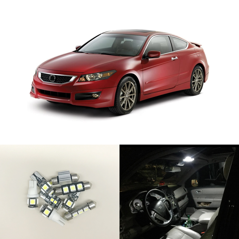 Fit For Honda Accord Coupe Sedan 2003 2017 Ultra White Interior Lighting Led Package Kits 8 Pieces Map Dome License Plate Lamp