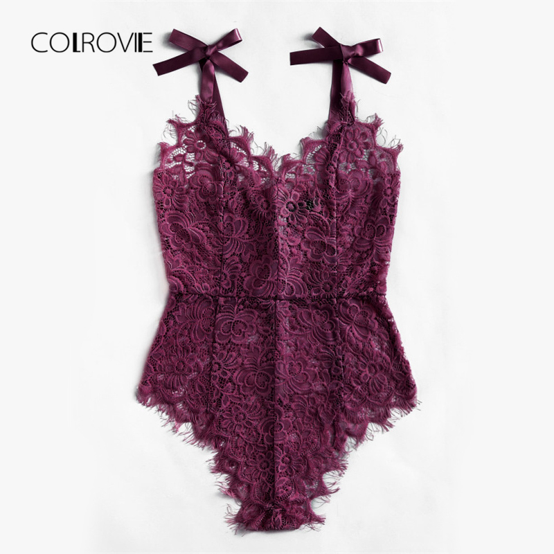 Colrovie Sexy Bodysuit Purple V Neck Strap Sleeveless Backless Lace Bodysuit Ribbon Tie Shoulder Floral Skinny Bodysuit