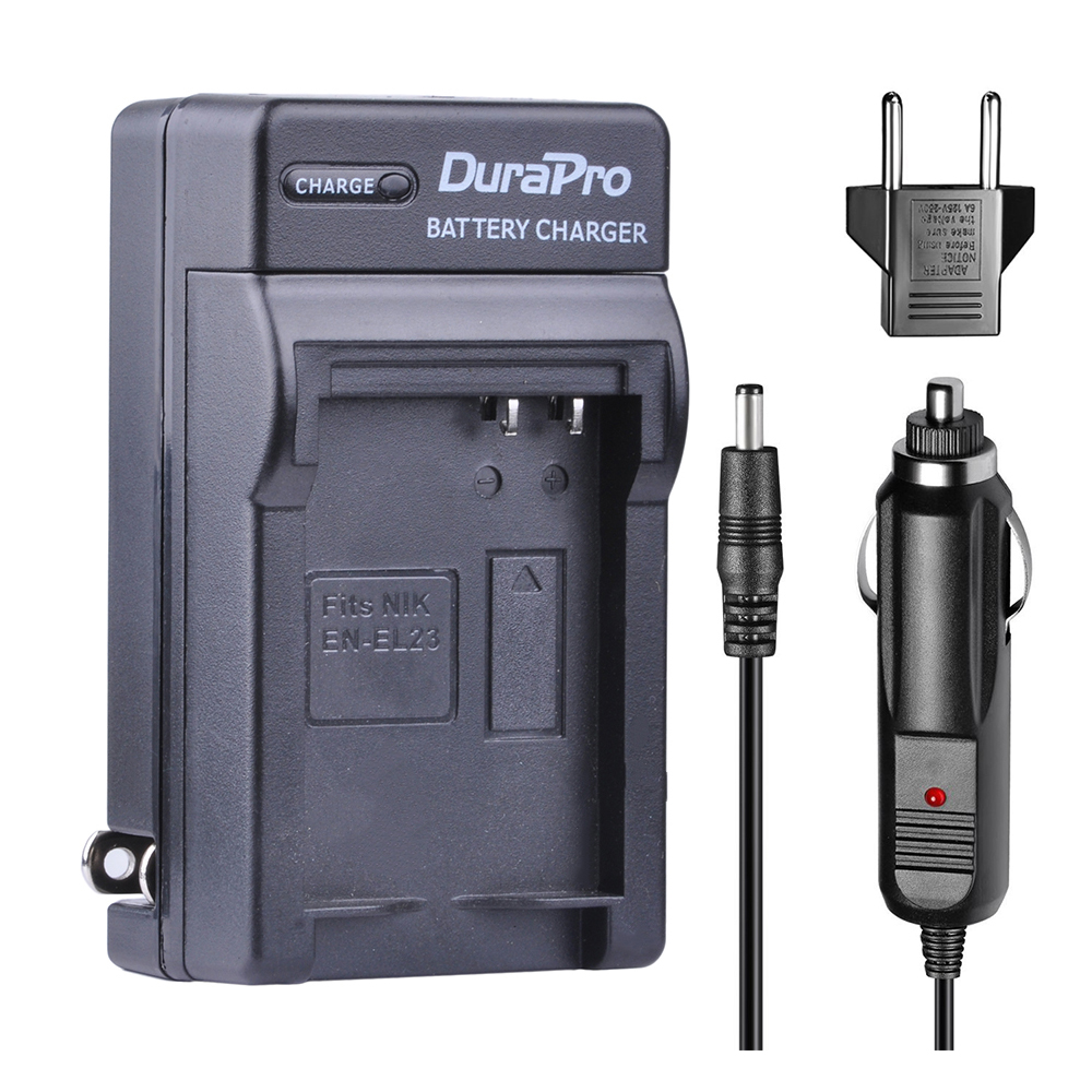 DuraPro 1pc Car Charger Wall Charger + EU Plug Kit For Nikon EN-EL23 ENEL23 EN EL23 COOLPIX P900 P610 P600 B700 Digital Camera