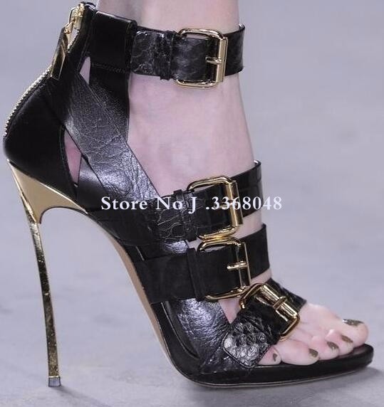 Chaussures femme en cuir véritable boucle cheville Peep Toe sandales femmes lame talon arrière fermeture éclair découpé gladiateur bottes sandale pour femmes - 4