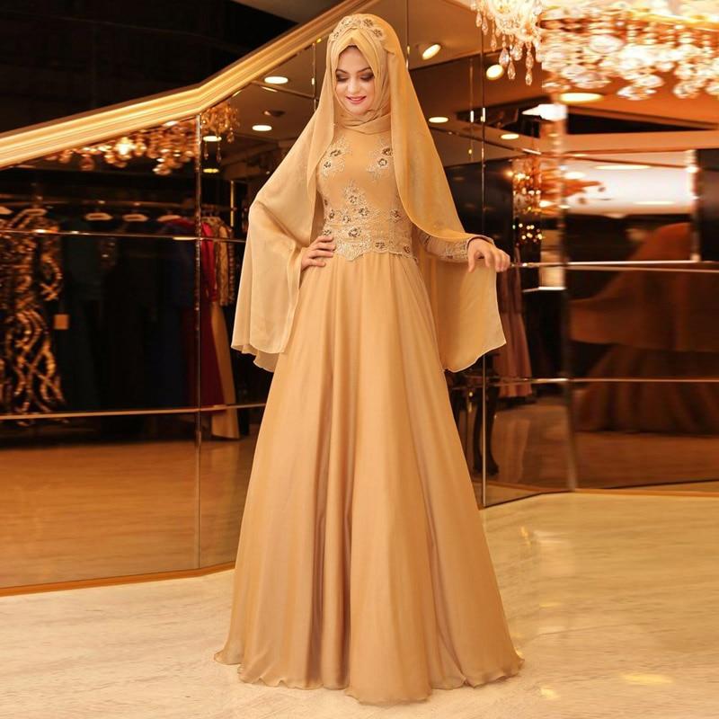Long Sleeves Champagne Muslim Evening Dress Appliqies Beaded font b Hijab b font Formal Dresses Maxi