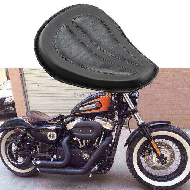 Motorcycle Brackets Spring And Leather Solo Seat Kit For Harley Sportster 883 1200 XL Chopper Bobber Suzuki Custom Black
