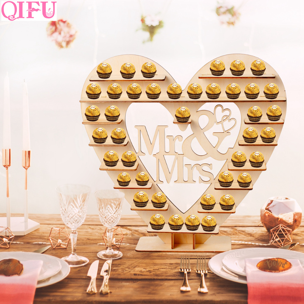 QIFU Donut Wall Holds Candy Sweet Cart Rustic Wedding Decoration Wood Wedding Table Decor Birthday Party Decor Baby Shower in Party DIY Decorations from Home Garden
