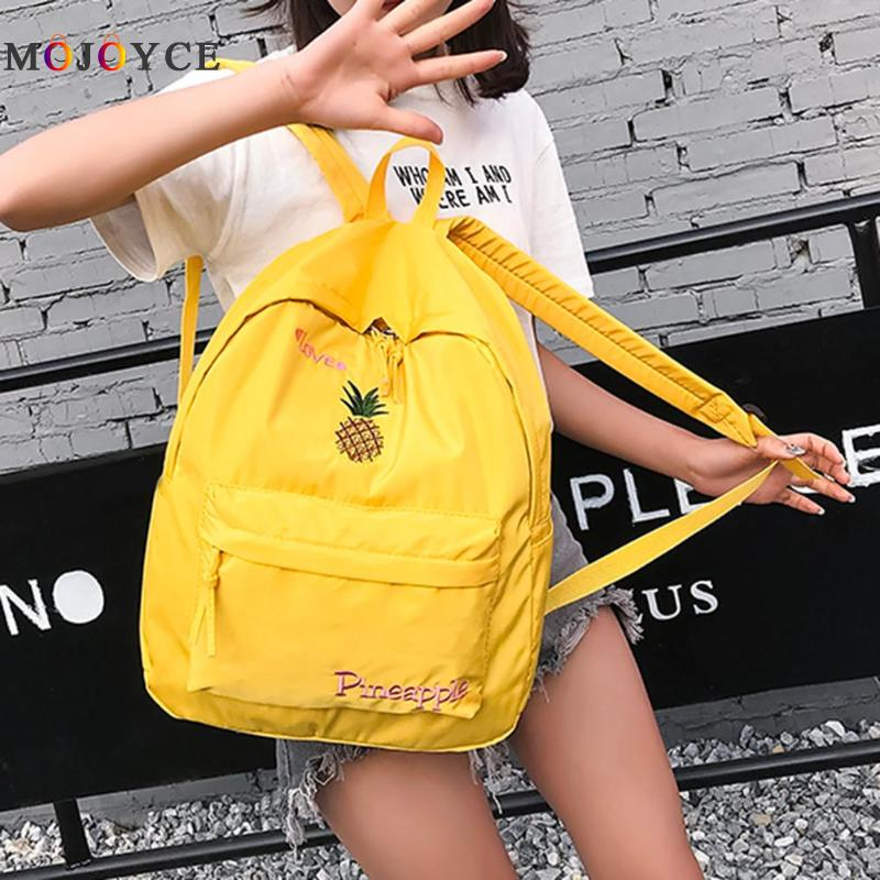 Large Capacity Casual Nylon Women Backpack Cute Cartoon Fruit Bird Embroidery Girl Preppy Shoulder School Backpack