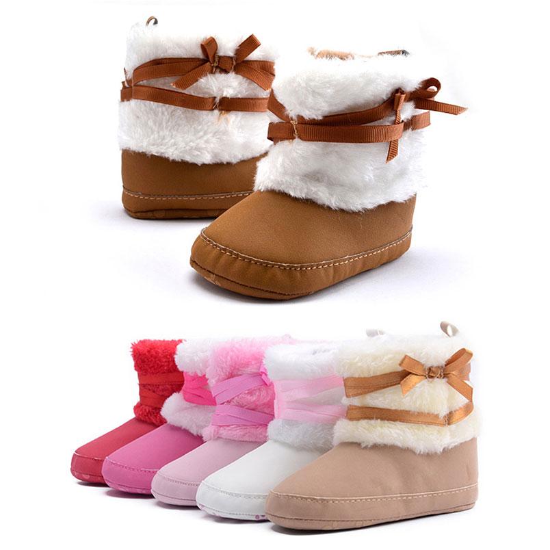 Baby Bowknot Boots Prewalker Crib Shoes Plush Fleece Keep