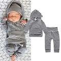 Conjunto de roupas de bebê longo sleev Listrado t-shirt com capuz + calça crianças 2 pcs terno roupa do bebê recém-nascido meninos terno infantil roupas