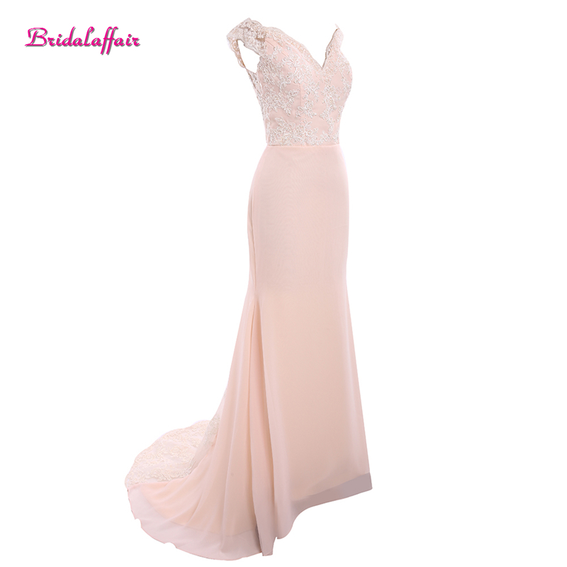 Bridalaffair Real Photo Pink Chiffon V Neck Lace Evening Dresses 2017 Luxury Vestido de festa Cap Sleeve Appliques Party Gown in Evening Dresses from Weddings Events