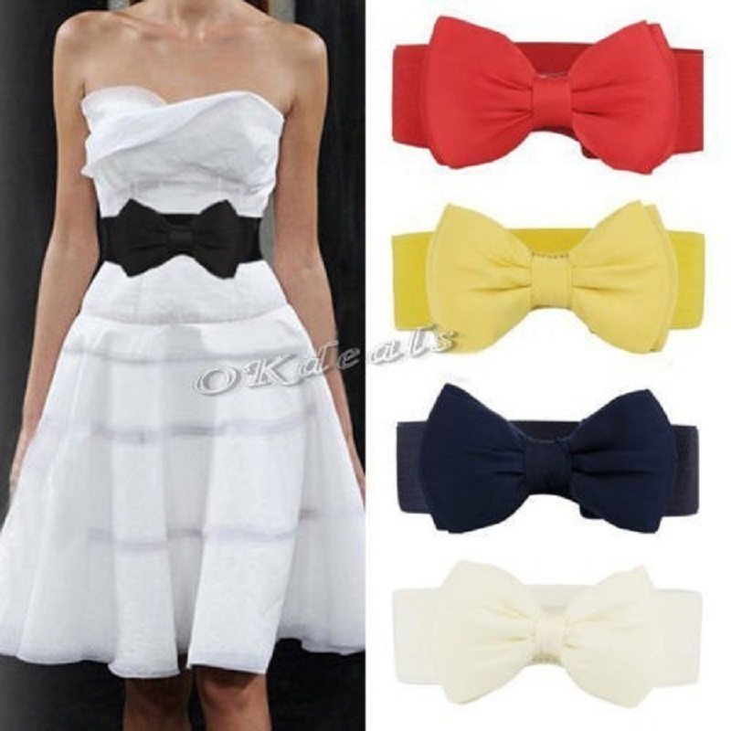 Okdeals Designer brands Fashion Women white Elastic   Belt   Bow Wide Stretch leather   belt   harajuku Style   belt   for dresses women