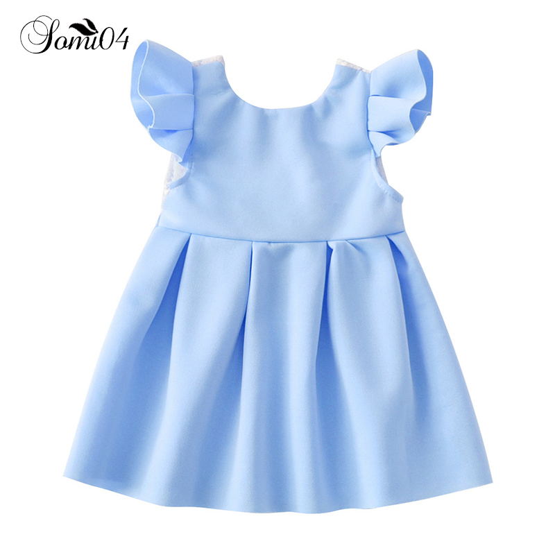 Toddlers Girls Flying Sleeve Dresses 2018 Summer Lace Backless Bow Birthday 1 2 3 4 Years Kids Gowns Pink Blue Princess Dress