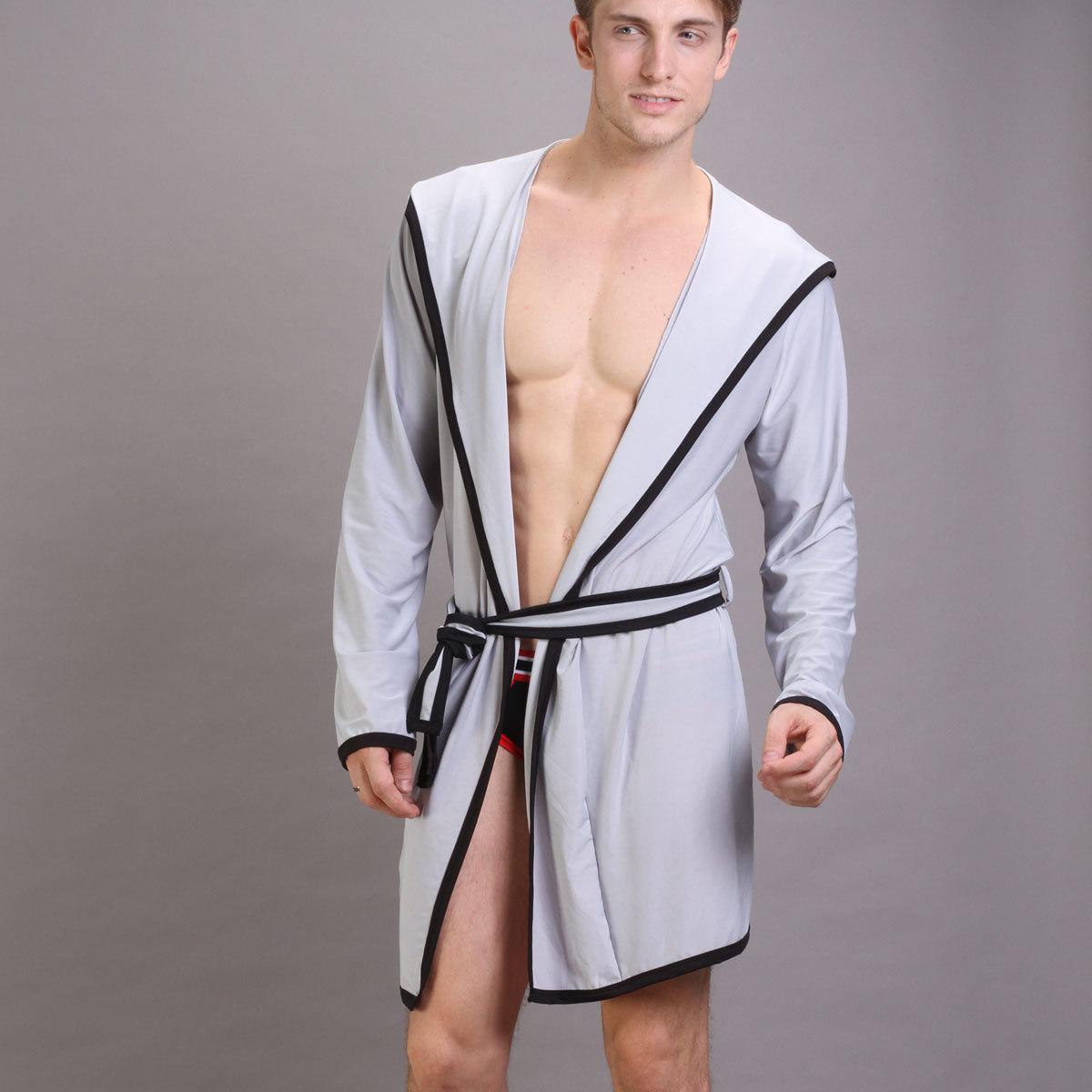 2013 Summer Men Bathrobe Viscose Sexy Robe Long Sleeve Silky Sleepwear-in  Robes from Underwear   Sleepwears on Aliexpress.com  a32b59555