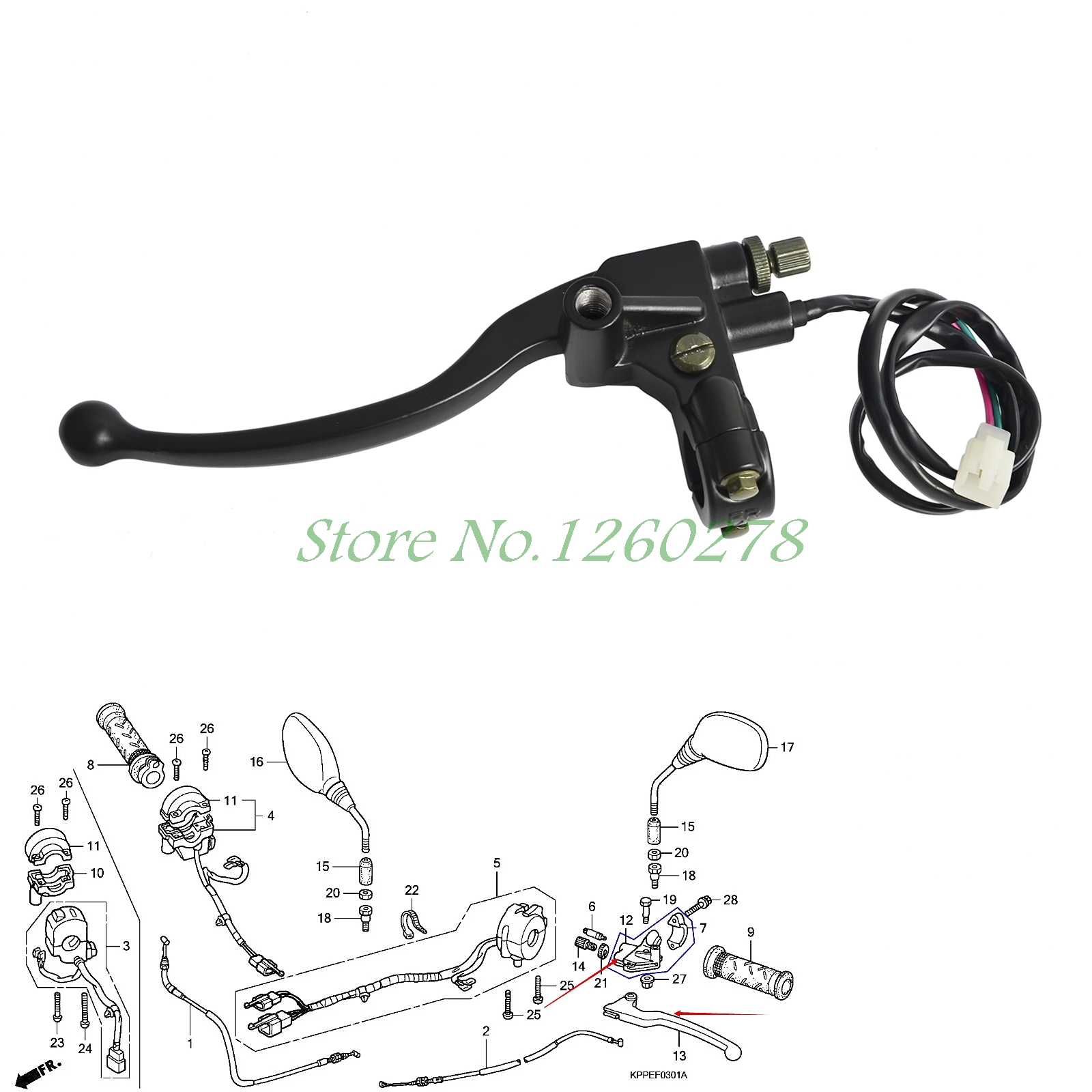 Clutch Lever and Bracket suitable For Lexmoto XTR S 125 KS125-23 Honda CBR125 R4 R5 RS5 RS6 RW 5/6//7/8/9 A/B/C