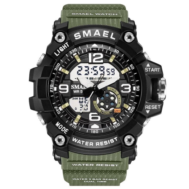 Children's Watches Men Luxury Brand Leather Sports Watches smael Men's Women Quartz LED Digital Clock Waterproof Military Watch