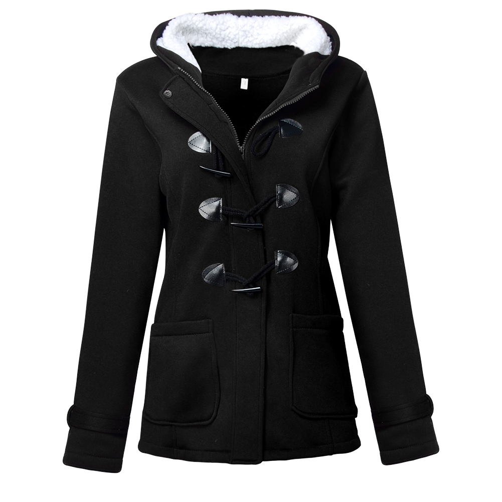 New Fashion Horn Botton Ornament Women's Warm Coat Jacket Cotton Outwear Winter Thick Hooded Long   Parka   Casual Overcoat Tops