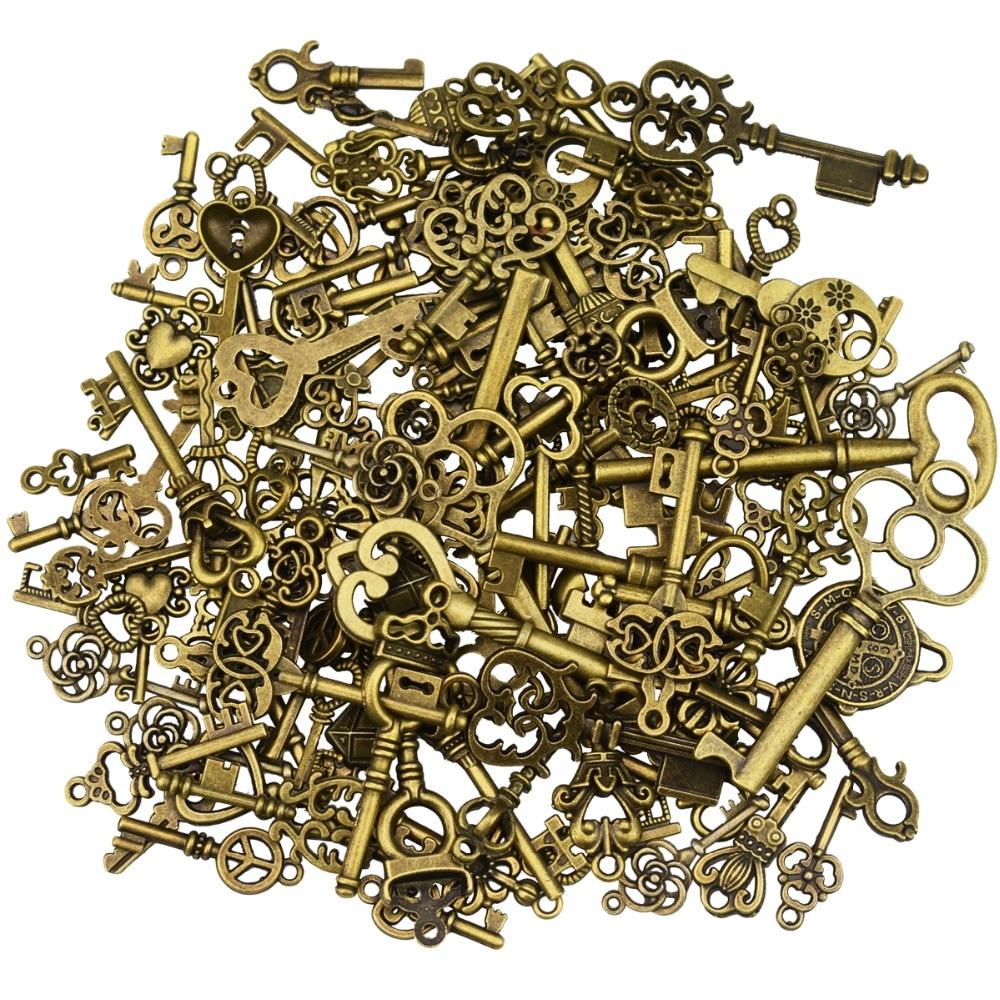 Necklace-Pendant Skeleton Jewelry-Making Wedding-Party-Favor Antique-Bronze Vintage Key-Charms