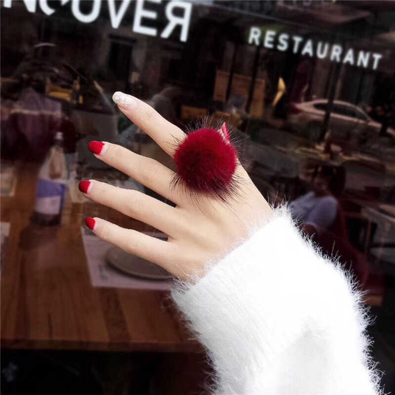Cute Fluffy Fur Rings For Women Faux Rabbit Fur Dog Fox Panda Finger Rings Party Jewelry Charms Ladies Wedding Rings Adjustable