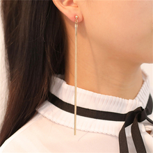 Sleek Minimalist Atmosphere Long Chain Tassel Earrings