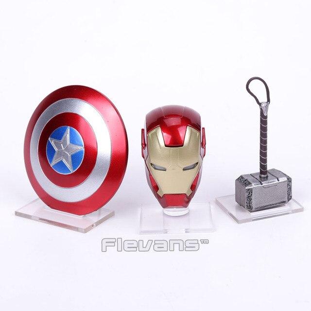 נוקמי 2 ברזל איש MK43 LED אור קסדת קפטן אמריקה מגן Thor פטיש עם אקריליק בסיס מיני פעולה איור צעצועים
