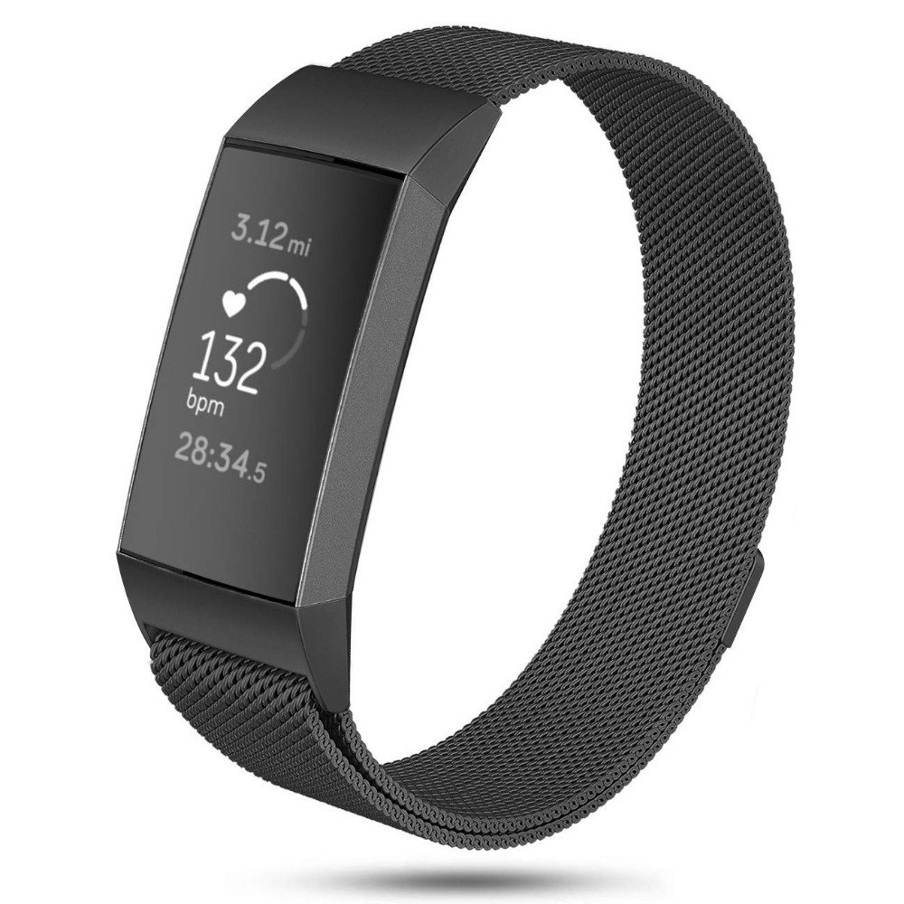 Metal Bands For Fitbit Charge 3 & Charge 3 SE Fitness Tracker Milanese Stainless Steel Magnetic Replacement For Women Men 9.14