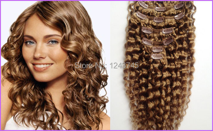 Online shop queen brazilian virgin hair 8pcsset kinky curly clip online shop queen brazilian virgin hair 8pcsset kinky curly clip in human hair extensions 8 light brown deep curly virgin hair 10 30 aliexpress mobile pmusecretfo Gallery
