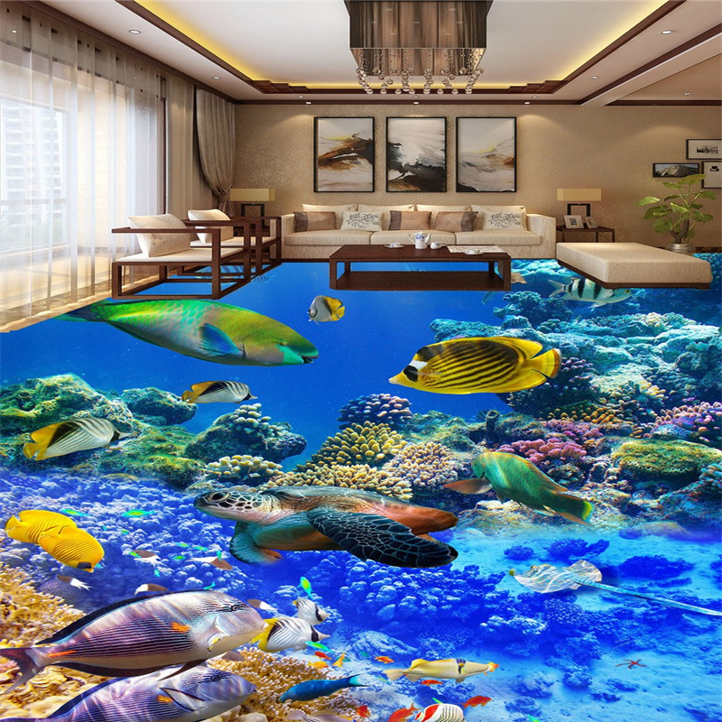 beibehang Underwater World papel de parede 3D Photo Floor Wallpaper for Livingroom Bedroom Mural Self adhesive Wall paper roll beibehang custom papel de parede 3d floor wallpaper self adhesive living room bedroom bathroom floor mural photo wall paper roll