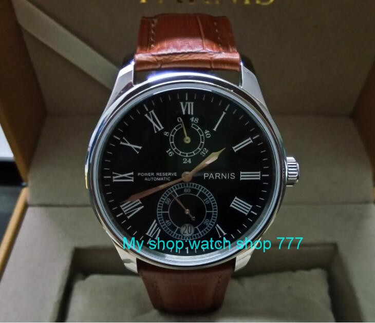 PARNIS 43mm black dial Automatic Self-Wind movement power reserve men's watch Mechanical watches wholesale GL16 parnis 43mm black dial automatic self wind movement power reserve men s watch mechanical watches wholesale gl17a