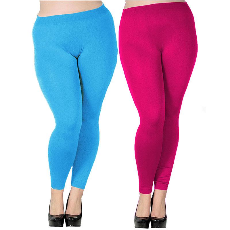 Women's Plus Size Modal Seamless High Waist Leggings Full Length Stretchy Basic Ankle Leggings Solid Color Long Legging Pants 1