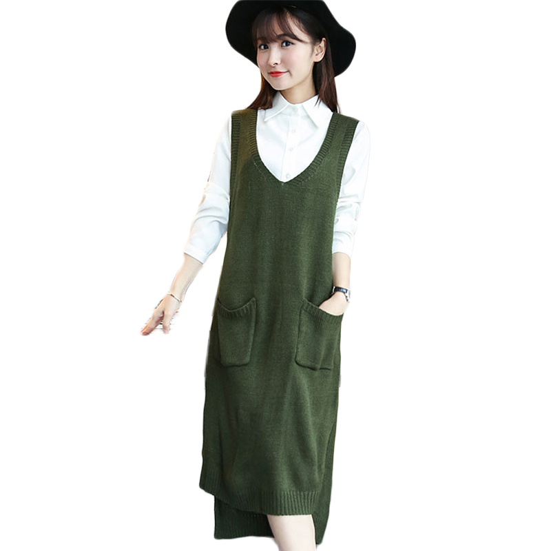 Online Shop Cute Women Knitted Sweater Vest Dress 2015 Autumn ...