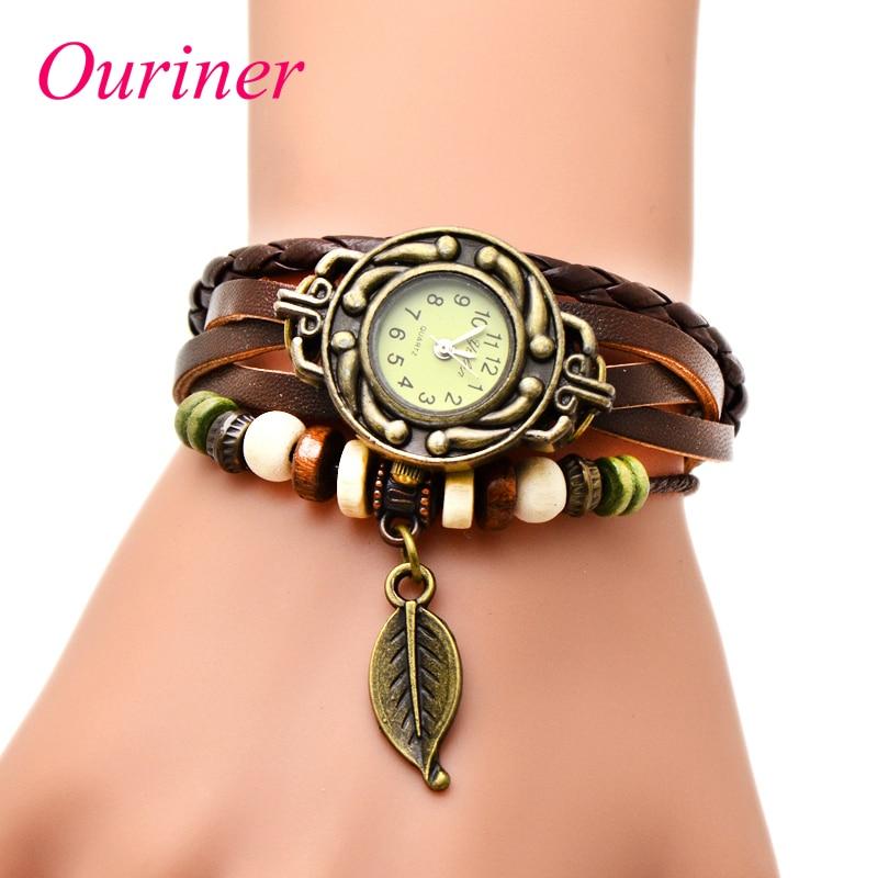 Best Selling Women Leather Bracelet Watch Women Dress Watches Leaf Pendant Vintage Quartz Analog