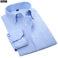Quality Blue And White Striped Royal Oxfodr Shirts Men Casual Long Sleeve Slim Fit Business Shirts