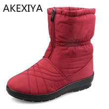 Fashion Plus Size 35~42 Waterproof Flexible Cube Women Boots High Quality Cozy Warm Fur Inside Snow Boots Winter Shoes Women